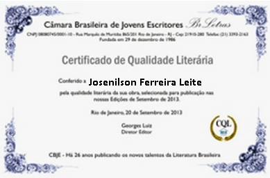"""Certificado conferido pela CBJE em jun 13, com a poesia """"Meu ABC por Você"""", publicada na Antologia de Poetas Brasileiros Contemporâneos Vol 101 e em set 13 com a poesia """"Amor Eterno"""", Publicado no Livro """"Com Amor e com Afeto"""", Edição jul 13,ambos da CBJE."""