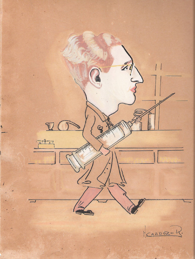 Caricatura do farmacêutico Francisco Morales.