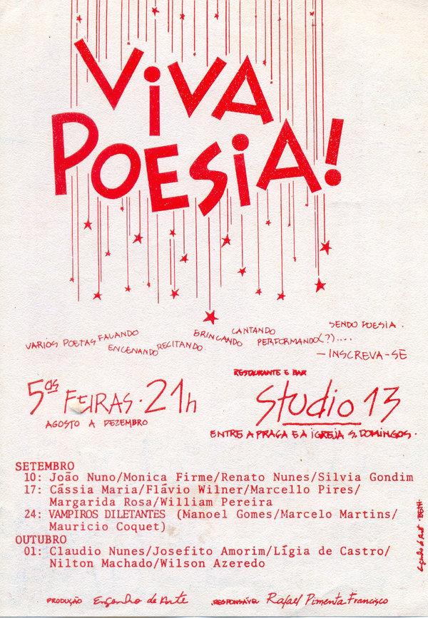 Filipeta da minha primeira apresentação como poeta, em 1987, no grupo Simples Palavras. O organizador do evento escolheu para mim o nome artístico errado: William Pereira, mas valeu assim mesmo.