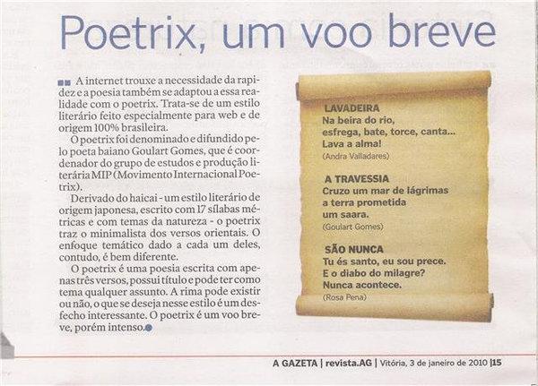 Jornal A Gazeta, Vitória, ES, 3/01/10