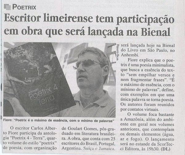 Matéria publicada no jornal Gazeta de Limeira (SP), em 15-08-2010