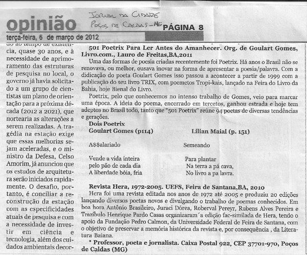 Divulgação realizada na coluna de Hugo Pontes